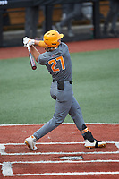 Jordan Beck (27) of the Tennessee Volunteers follows through on his swing against the Charlotte 49ers at Hayes Stadium on March 9, 2021 in Charlotte, North Carolina. The 49ers defeated the Volunteers 9-0. (Brian Westerholt/Four Seam Images)