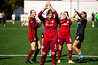 MONTCLAIR, NJ - OCTOBER 3: Kailen Sheridan #1 of Sky Blue FC along with teammates wave to fans in a nearby parking garage post-game during a game between Washington Spirit and Sky Blue FC at MSU Soccer Park at Pittser Field on October 3, 2020 in Montclair, New Jersey.