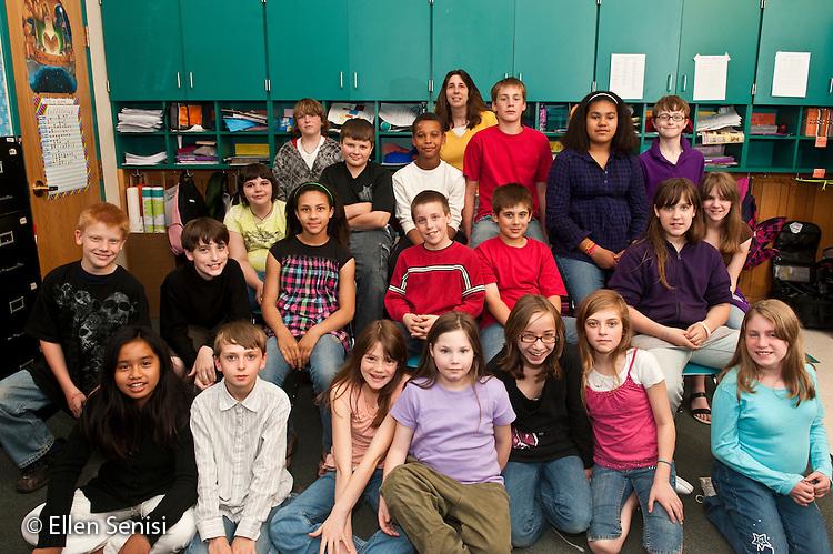 MR / Little Falls, NY. Benton Hall Academy (public elementary school). Grade 5. Class portrait of students and their teacher. MR: AK-g5s. ID: AK-g5s. © Ellen B. Senisi.