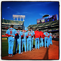 OAKLAND, CA - AUGUST 3: iPhone Instagram of the St. Louis Cardinals lining up for the National Anthem before the game against the Oakland Athletics at the Oakland Coliseum on August 3, 2019 in Oakland, California. (Photo by Brad Mangin)