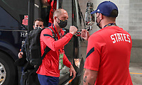 KANSAS CITY, KS - JULY 15: USA head coach Gregg Berhalter arriving at the stadium before a game between Martinique and USMNT at Children's Mercy Park on July 15, 2021 in Kansas City, Kansas.