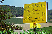 Sign: Alain Gautheron, Grand Vins de Chablis, just west of the Chablis village Fleys, Bourgogne