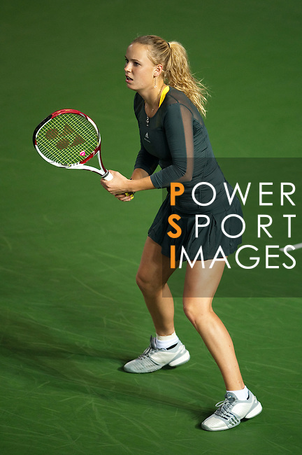 Caroline Wozniacki of Denmark in action during day one of the Hong Kong Tennis Classic 2011 on January 5, 2011 in Hong Kong, China. Photo by Victor Fraile / The Power of Sport Images