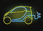 Illustrative image of electric car and plug representing go green concept