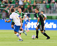 AUSTIN, TX - JUNE 19: Tomas Pochettino of Austin FC brings the ball up the field during a game between San Jose Earthquakes and Austin FC at Q2 Stadium on June 19, 2021 in Austin, Texas.