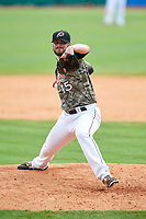 Arkansas Travelers relief pitcher Darin Gillies (15) delivers a pitch during a game against the Frisco RoughRiders on May 28, 2017 at Dickey-Stephens Park in Little Rock, Arkansas.  Arkansas defeated Frisco 17-3.  (Mike Janes/Four Seam Images)