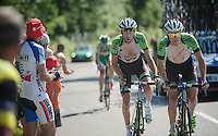 Laurens Ten Dam (NLD) & teammate Lars Petter Nordhaug (NOR) on the final climb of the 100th Tour de France<br /> <br /> Tour de France 2013<br /> stage 20: Annecy to Annecy-Semnoz<br /> 125km