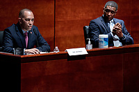 United States Representative Hakeem Jeffries (Democrat of New York), left, with US Representative Cedric Richmond (Democrat of Louisiana), right, speaks during a US House Judiciary Committee at a hearing on police accountability on Capitol Hill in Washington, DC on June 10, 2020. <br /> Credit: Erin Schaff / Pool via CNP/AdMedia
