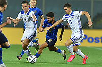 Amir Hadziahmetovic of Bosnia , Lorenzo Insigne of Italy and Gojko Cimirot of Bosnia compete for the ball during the Uefa Nation League Group Stage A1 football match between Italy and Bosnia at Artemio Franchi Stadium in Firenze (Italy), September, 4, 2020. Photo Massimo Insabato / Insidefoto