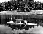 Car in Sefton Park Lake, Liverpool, 1979