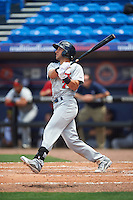Brevard County Manatees second baseman George Iskenderian (7) at bat during a game against the St. Lucie Mets on April 17, 2016 at Tradition Field in Port St. Lucie, Florida.  Brevard County defeated St. Lucie 13-0.  (Mike Janes/Four Seam Images)