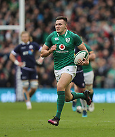Saturday 10th March 2018 |  Ireland vs Scotland<br /> <br /> Jacob Stockdale races clear to score Ireland's first try during the NatWest 6 Nations clash between Ireland and Scotland at the Aviva Stadium, Lansdowne Road, Dublin, Ireland. Photo by John Dickson / DICKSONDIGITAL