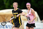 GER - Hannover, Germany, May 31: During the Women Lacrosse Playoffs 2015 match between KIT SC Karlsruhe (pink) and HTHC Hamburg (black) on May 31, 2015 at Deutscher Hockey-Club Hannover e.V. in Hannover, Germany. (Photo by Dirk Markgraf / www.265-images.com) *** Local caption *** Laura Prym #10 of HTHC Hamburg, Julia Riedel #20 of KIT SC Karlsruhe