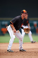 GCL Orioles third baseman Frank Crinella (9) during the second game of a doubleheader against the GCL Rays on August 1, 2015 at the Ed Smith Stadium in Sarasota, Florida.  GCL Orioles defeated the GCL Rays 11-4.  (Mike Janes/Four Seam Images)