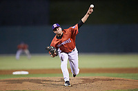 Piedmont Boll Weevils relief pitcher Sam Long (28) in action against the Hickory Crawdads at Kannapolis Intimidators Stadium on May 3, 2019 in Kannapolis, North Carolina. The Boll Weevils defeated the Crawdads 4-3. (Brian Westerholt/Four Seam Images)
