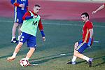 Spain's Gerard Deulofeu (l) and Cesar Azpilicueta during training session. March 20,2017.(ALTERPHOTOS/Acero)
