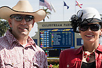 HALLANDALE BEACH, FL - JANUARY 28: Fans enjoy the beautiful cool and sunny weather on Pegasus World Cup Day at Gulfstream Park. (Photo by Arron Haggart/Eclipse Sportswire/Getty Images