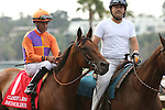 """DEL MAR, CA  JULY 30: Beholder and Gary Stevens in the post parade of the Clement L. Hirsch Stakes (Gl) """"Win and You're in Breeders' Cup Distaff Division"""" at Del Mar Turf Club in Del Mar, CA on July 30, 2016. (Photo by Casey Phillips/Eclipse Sportswire/Getty Images)DEL MAR, CA  JULY 30: #2 Stellar Wind with Victor Espinoza beat Beholder and Gary Stevens in the Clement L. Hirsch Stakes (Gl) """"Win and You're in Breeders' Cup Distaff Division"""" at Del Mar Turf Club in Del Mar, CA on July 30, 2016. (Photo by Casey Phillips/Eclipse Sportswire/Getty Images)"""