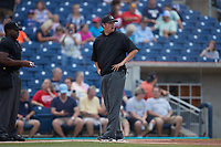 Umpire Drew Maher prior to the game between the Charleston RiverDogs and the Kannapolis Cannon Ballers at Atrium Health Ballpark on July 1, 2021 in Kannapolis, North Carolina. (Brian Westerholt/Four Seam Images)