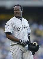Juan Uribe of the Colorado Rockies during a 2002 MLB season game against the Los Angeles Dodgers at Dodger Stadium, in Los Angeles, California. (Larry Goren/Four Seam Images)