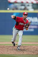 Carolina Mudcats relief pitcher Joey Matulovich (16) in action against the Kannapolis Cannon Ballers at Atrium Health Ballpark on June 13, 2021 in Kannapolis, North Carolina. (Brian Westerholt/Four Seam Images)