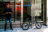 NEW YORK, NY - OCTOBER 15: A man tries to sell a bicycle at Times Square on October 15, 2020 in New York, At least 4,477 bicycles have been reported stolen with an increase of 27 percent from same period last year, according to the police. (Photo by Eduardo MunozAlvarez/VIEWpress)