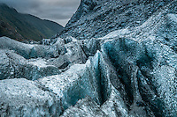Beautiful shapes and textures of crevasses atop of terminal icefall of Franz Josef Glacier at twilight, Westland National Park, West Coast, World Heritage, South Island, New Zealand