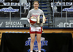 SIOUX FALLS, SD - MARCH 9: Chloe Lamb #22 of the South Dakota Coyotes holds her MVP trophy following their 66-43 win over the Nebraska-Omaha Mavericks for the 2021 Women's Summit League Basketball Championship at the Sanford Pentagon in Sioux Falls, SD.(Photo by Dave Eggen/Inertia)
