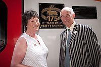 Pictured at the 175th Anniversary of Derby's Railways train naming event is the MP for Mid Derbyshire Pauline Latham with Paul Atterbury of the Antiques Roadshow, who are currently filming in Derby