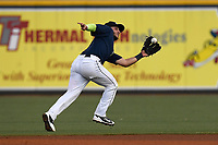 Second baseman Michael Paez (3) of the Columbia Fireflies plays defense in a game against  the Charleston RiverDogs on Friday, June 9, 2017, at Spirit Communications Park in Columbia, South Carolina. Columbia won, 3-1. (Tom Priddy/Four Seam Images)