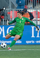 Hope Solo. The US Women's National Team defeated the Canadian Women's National Team, 4-0, at BMO Field in Toronto during an international friendly soccer match on May 25, 2009.
