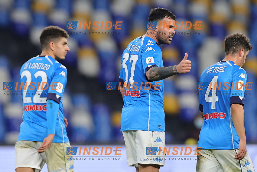 Andrea Petagna of SSC Napoli celebrates with team mates after scoring a goal during the Italy Cup football match between SSC Napoli and Empoli FC at stadio Diego Armando Maradona in Napoli (Italy), January 13, 2021. <br /> Photo Cesare Purini / Insidefoto