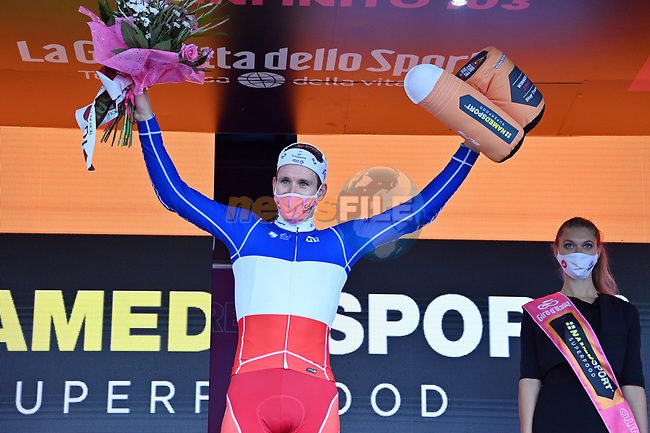 French Champion Arnaud Demare (FRA) Groupama-FDJ wins Stage 4 of the 103rd edition of the Giro d'Italia 2020 running 140km from Catania to Villafranca Tirrena, Sicily, Italy. 6th October 2020.  <br /> Picture: LaPresse/Gian Mattia D'Alberto | Cyclefile<br /> <br /> All photos usage must carry mandatory copyright credit (© Cyclefile | LaPresse/Gian Mattia D'Alberto)