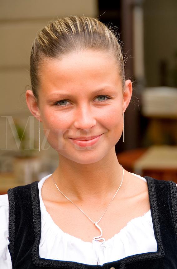 Beautiful waitress in traditional dress,Cesky Krumlov, Czech Republic