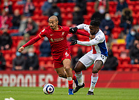 23rd May 2021; Anfield, Liverpool, England; EPL Premier League football, Liverpool versus Crystal Palace:  Liverpool's Thiago Alcantara gets away from Crystal Palace's Jeffrey Schlupp during the Premier League match between Liverpool and Crystal Palace at Anfield