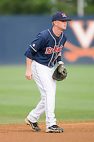 Shortstop Kevin Mort #6 of the Ole Miss Rebels on defense against the Virginia Cavaliers at the Charlottesville Regional of the 2010 College World Series at Davenport Field on June 5, 2010, in Charlottesville, Virginia.  The Cavaliers defeated the Rebels 13-7.  Photo by Brian Westerholt / Four Seam Images