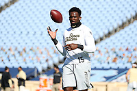 CHAPEL HILL, NC - NOVEMBER 14: Jaylen Hudson #15 of Wake Forest warms up before a game between Wake Forest and North Carolina at Kenan Memorial Stadium on November 14, 2020 in Chapel Hill, North Carolina.