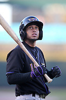 Louisville Bats outfielder Michael Griffin #15 on deck during a game against the Rochester Red Wings at Frontier Field on May 9, 2011 in Rochester, New York.  Rochester defeated Louisville by the score of 7-6 in a marathon 18 inning game.  Photo By Mike Janes/Four Seam Images