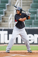 Jared Bolden #15 of the Hickory Crawdads at bat against the Kannapolis Intimidators at Fieldcrest Cannon Stadium August 17, 2010, in Kannapolis, North Carolina.  Photo by Brian Westerholt / Four Seam Images