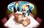 Business executives having money breakfast