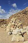 Israel, Ballista balls at the Crusader fortress Arsur in Apollonia National Park
