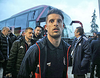 Pictured: Kevin Mirallas of Olympiakos arrives to the Toumba Stadium in Thessaloniki, Greece. Sunday 25 February 2018<br /> Re: Sunday's Greek Super League derby between PAOK Thessaloniki and Olympiakos was called off after Olympiakos' manager Oscar Garcia was struck in the face by an object believed to be a till machine paper roll, thrown by a spectator minutes before kick-off.<br /> Garcia left Toumba Stadium for a local hospital to seek treatment for a bloodied lip.<br /> The incident prompted the Olympiakos team to leave the pitch in protest before riots erupted outside the ground.<br /> Angry PAOK fans leaving the stadium then clashed with police who used tear gas to quell the violence.