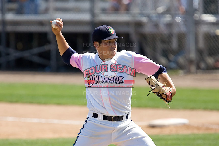 August 30, 2009: Everett AquaSox's Chris Kirkland toes the rubber against the Salem-Keizer Volcanoes during a Northwest League game at Everett Memorial Stadium in Everett, Washington.  The AquaSox wore pink jerseys for breast cancer awareness.  The AquaSox wore pink jerseys for breast cancer awareness..