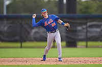 New York Mets Brett Baty (96) throwing during a Minor League Spring Training game against the Houston Astros on April 27, 2021 at FITTEAM Ballpark of the Palm Beaches in Palm Beach, Fla.  (Mike Janes/Four Seam Images)