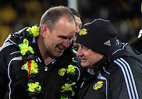 Assistant coach John Plumtree chats with head coach Chris Boyd after the Super Rugby final match between the Hurricanes and Lions at Westpac Stadium, Wellington, New Zealand on Saturday, 6 August 2016. Photo: Dave Lintott / lintottphoto.co.nz