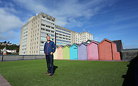 WORDS BY KARL WEST<br />Pictured: Huw Williams of Coastal on the roof of the business offices overlooking Alexandra House Friday 30 September 2016<br />Re: The regeneration of the High Street in Swansea, Wales, UK