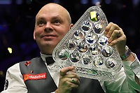 19th january 2020, Alexandra palace, London, United Kingdom;  Stuart Bingham of England holds his champions trophy during the awards ceremony at Snooker Masters 2020 at the Alexandra Palace in London