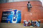 02.01.2020 Ibrox disaster memorial service: Tributes left at the Ibrox Disaster memorial at Ibrox Stadium