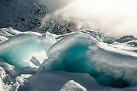 Ice formations, icy wonderland on Franz Josef Glacier, Westland Tai Poutini National Park, West Coast, UNESCO World Heritage Area, New Zealand, NZ