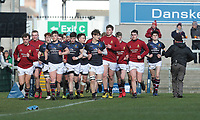 Monday 19th March 2018    Ulster Schools Cup Final 2018<br /> <br /> Jack Treanor leads his team off the pitch after the warm-up during the 2018 Ulster Schools Cup Final between the Royal School Armagh and Campbell College at Kingspan Stadium, Ravenhill Park, Belfast, Northern Ireland. Photo by John Dickson / DICKSONDIGITAL